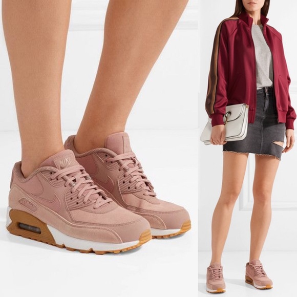 Nike Air Max 90 Suede Blush Pink with Leather Trim